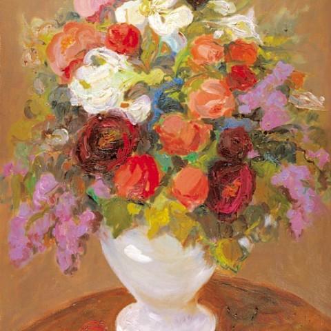 167- Gran jarra con azucenas, lilas y rosas_med