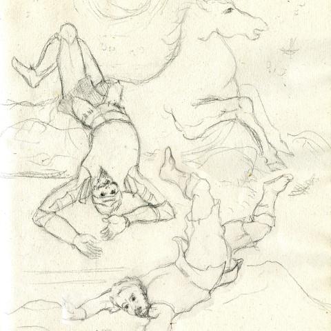 16 El Quijote y Sancho se caen de Clavileño